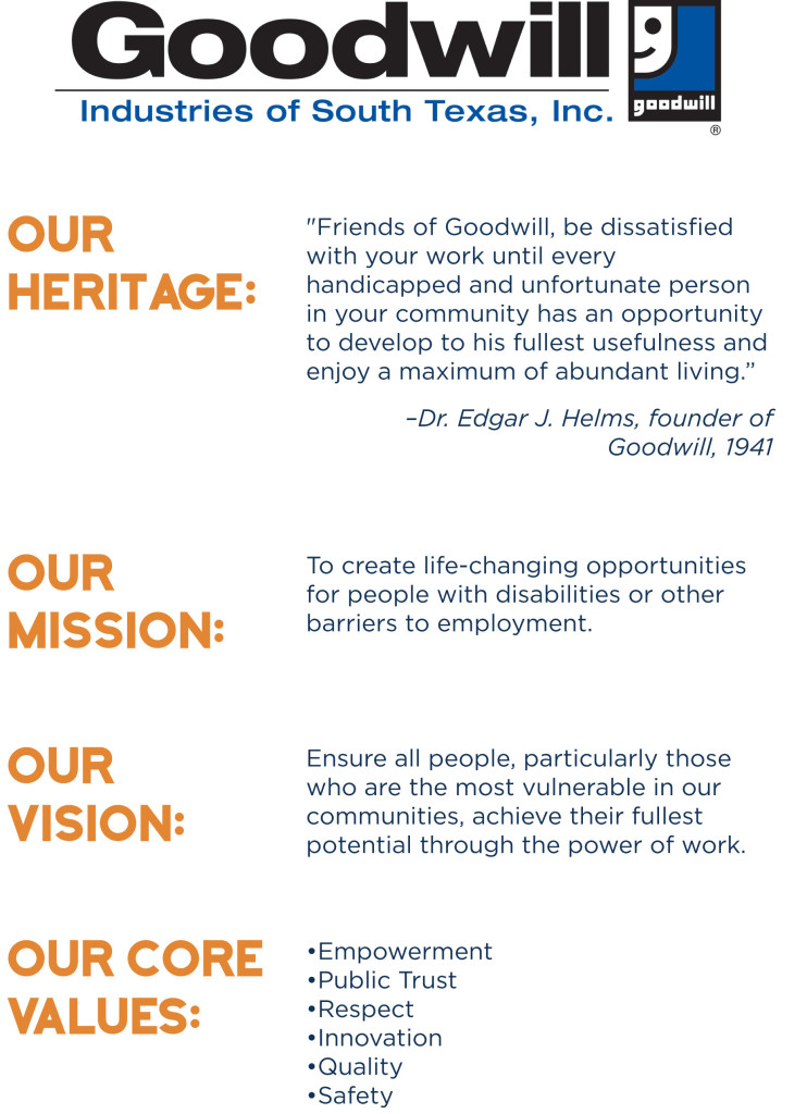 2016 Goodwill Heritage, Mission, Vision and Core Values