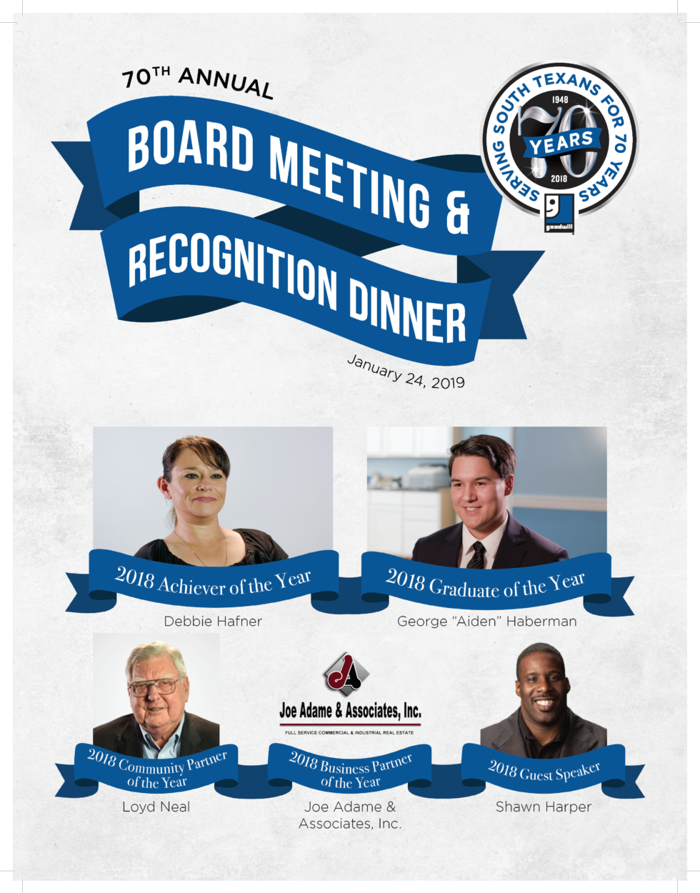 Goodwill South Texas Board Meeting and Recognition Dinner January 24, 2019